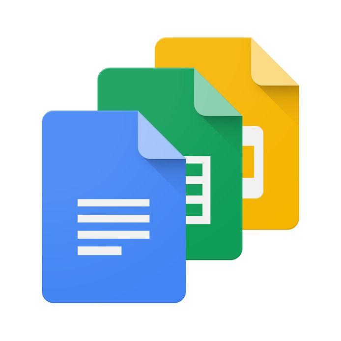 De logo's van Google Docs, sheets en slides.