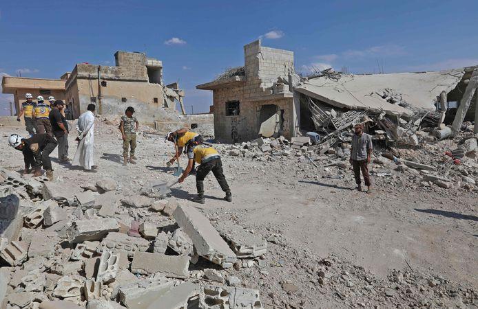 De ravage na de aanvallen op Idlib.