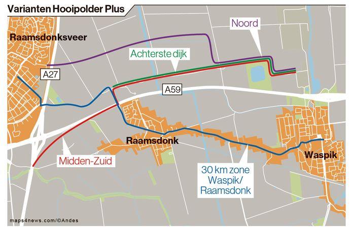 De opties voor parallelwegen, zoals die voorlopig waren uitgetekend. Daarnaast is een 30 km zone in de dorpen een mogelijkheid.