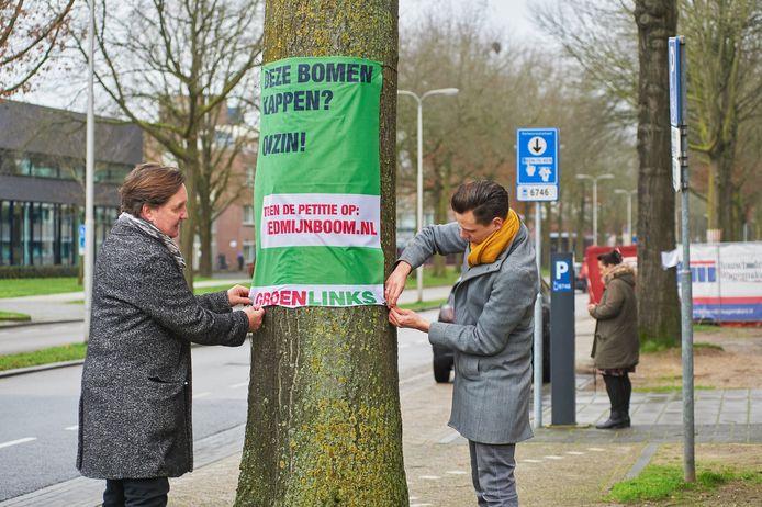 Protest tegen voorgenomen bomenkap aan de Raadhuislaan in Oss.