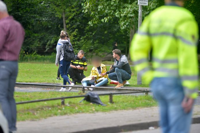 Beeld van vlak na het steekincident in Arnhem.