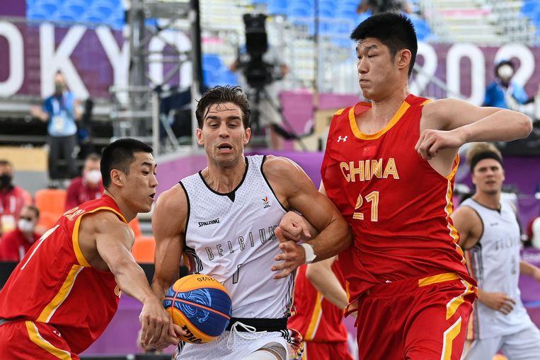 Rafael Bogaerts (midden) in actie tegen China. Beeld AFP