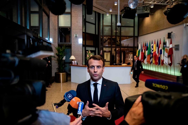 Macron zag de door hem nagestreefde 'wedergeboorte van Europa' in gevaar komen door het brexituitstel.  Beeld AFP