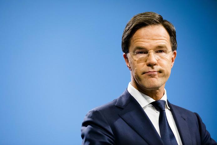 Mark Rutte tijdens de persconferentie na afloop van de ministerraad.