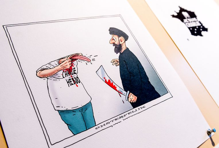 De bewuste cartoon van spotprenttekenaar Joep Bertrams. Beeld ANP