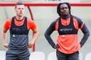Nick Venema (links), afgelopen seizoen verhuurd aan NAC, was vandaag terug bij FC Utrecht. Rechts: Christopher Mamengi.