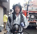 Dirk Vanluchene (64) tijdens z'n laatste interventie bij de Meulebeekse brandweer.