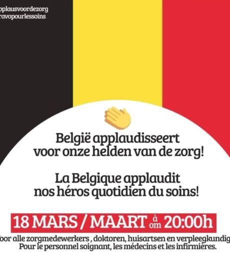 Toute la Belgique est invitée à applaudir le personnel médical ce mercredi à 20 heures