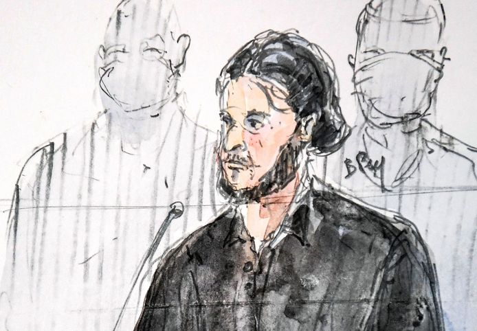 Een schets van Salah Abdeslam in de rechtszaal.