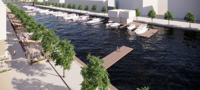 Een 3D-beeld van de plannen van VVW HYAC voor de nieuwe jachthaven.