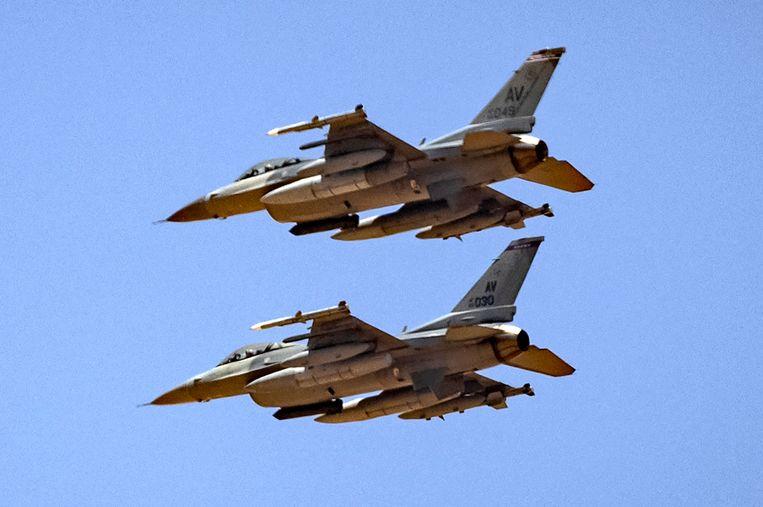 Amerikaanse F-16's tijdens een oefening. Beeld AFP