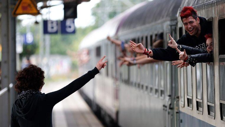 Een volle trein in Duitsland. Beeld epa