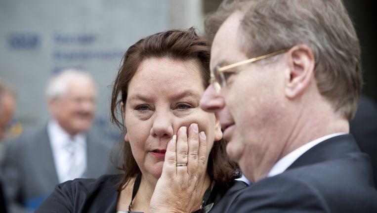 FNV-voorzitter Agnes Jongerius (L) en voorzitter van VNO-NCW Bernard Wientjes (R). Beeld anp