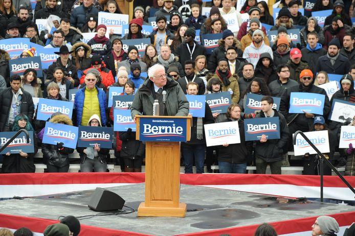 Senator Bernie Sanders trapt zijn presidentscampagne af in Brooklyn in New York.