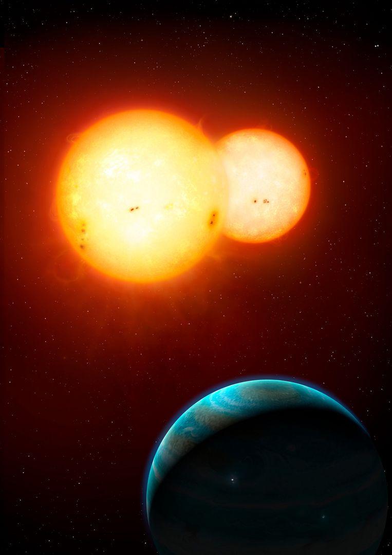 Het Kepler-35 stelsel Beeld Mark A. Garlick / space-art.co.uk / NASA