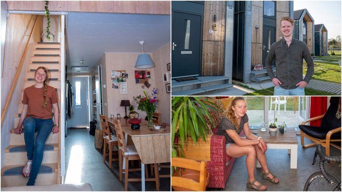 Van linksboven met de klok mee: tiny house-bewoners Natascha van der Sijs, Thomas Huisman en Dieske Kruisselbrink.