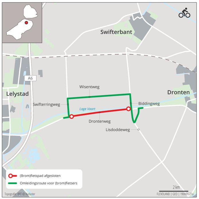 De werkzaamheden aan het fietspad langs de Dronterringweg en de omleidingsroute