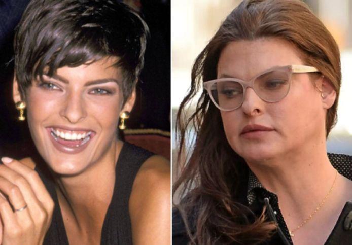 Links: Linda Evangelista in de jaren '90. Rechts: Linda Evangelista in 2016.