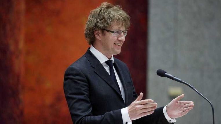 Staatssecretaris Sander Dekker van Onderwijs, Cultuur en Wetenschap in de Tweede Kamer tijdens het debat over de wijziging van de mediawet uit 2008. Beeld anp