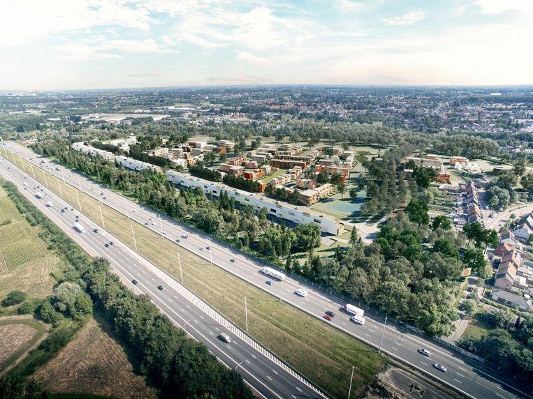 Een simulatie van de toekomstige woonwijk Groeningen met op de voorgrond de E19, de groene buffer en de 'woonwal'.