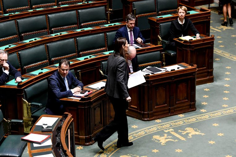 Premier Sophie Wilmès (MR) stapt naar de spreekstoel in het federaal parlement. Beeld BELGA