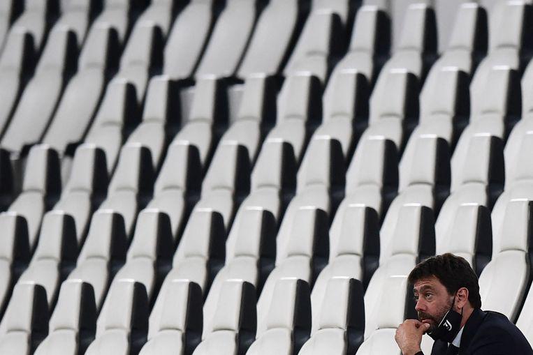 Andrea Agnelli, voorzitter van Juventus, ziet zijn project in elkaar storten. Beeld AFP