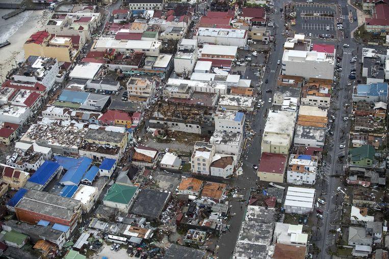 2017-09-06 22:28:08 PHILIPSBURG - Luchtfotografie van de schade op Sint-Maarten van orkaan Irma. De NH90 helikopter van Zr. Ms. Zeeland een eerste verkenningsvlucht gevlogen over de eilanden Saba, Sint Eustatius en Sint Maarten. ANP HANDOUTS MINISTERIE VAN DEFENSIE / GERBEN VAN ES **NO ARCHIVE, NO SALE, EDITORIAL USE ONLY** Beeld ANP Handouts