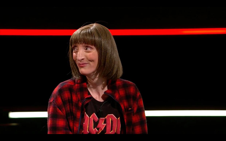 Delphine Lecompte (42) bij 'De slimste mens'. Beeld VIER