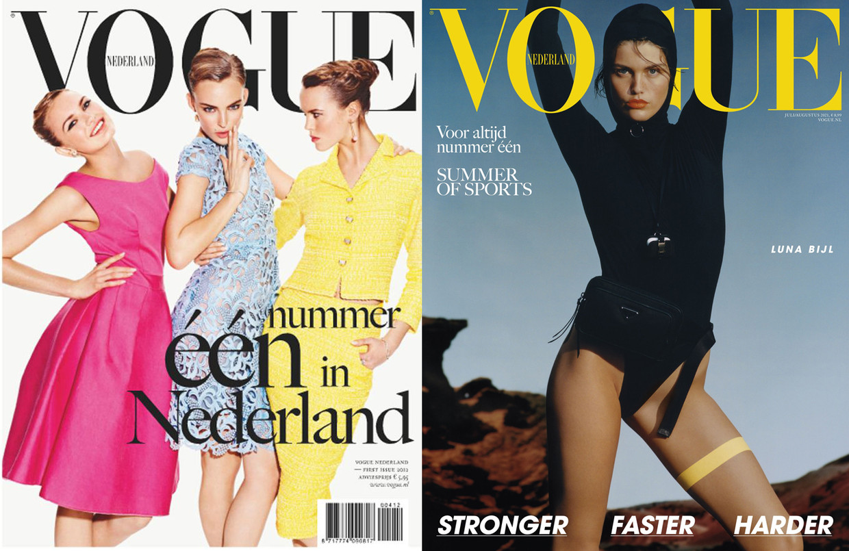 De eerste (links, 2012) en de laatste editie (2021) van Vogue.  Beeld