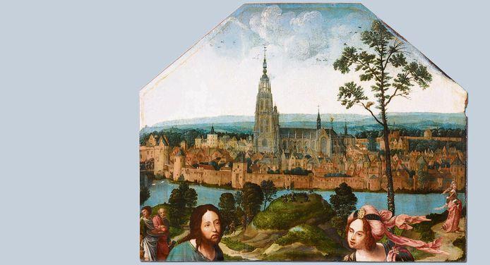 BREDA - Christus en de Samaritaanse vrouw bij de stad Breda. Olieverf op paneel, circa 1518-1520. Het oudste stadsbeeld van Breda.