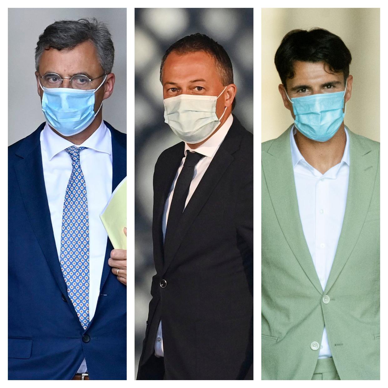 Partijvoorzitters Joachim Coens (CD&V), Egbert Lachaert (Open Vld) en Conner Rousseau (sp.a). Beeld DM