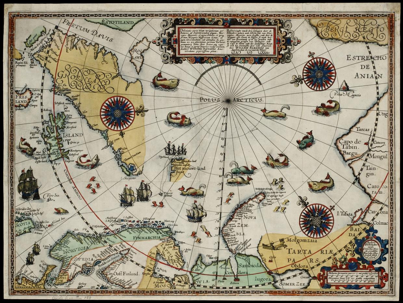 Kaart van de zeereis van Willem Barentz, die in 1597 op Nova Zembla moest overwinteren. Beeld © Allard Pierson/UvA