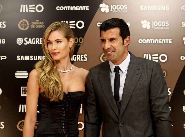 Luis Figo en zijn vrouw, het Zweedse model Helen Svedin. Beeld epa
