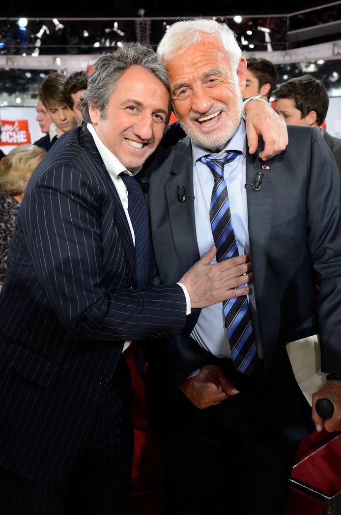 """Jean-Paul Belmondo et Richard Anconina en 2013, sur le plateau de l'émission """"Vivement Dimanche""""."""