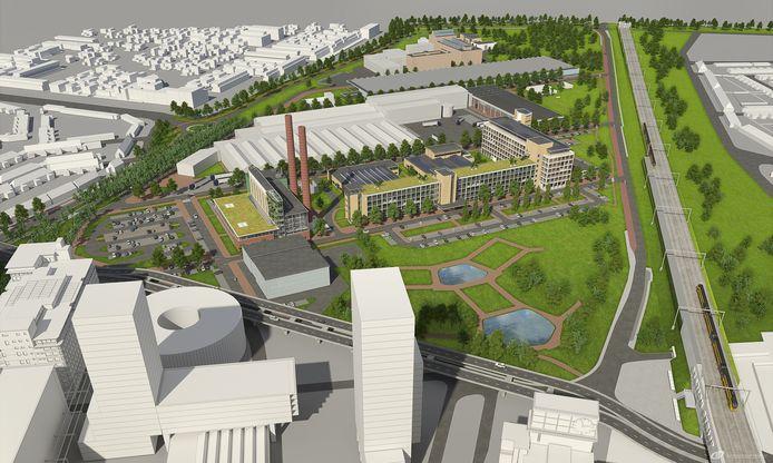 Artist's impression van het nieuwe Strijp-T, met achter het Gloeilampplantsoen gebouw TQ en links de Innovation Powerhouse (TR).