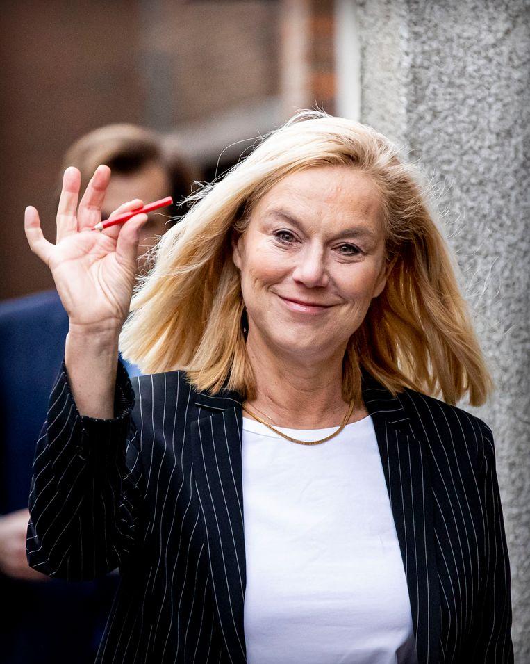 Kaag opverkiezingsdag in Den Haag.  Beeld Getty