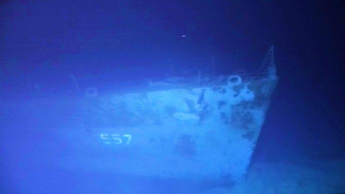 Een foto van de USS Johnston (DD-557).
