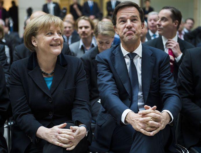 De Duitse Bondskanselier Angela Merkel en premier Mark Rutte vandaag in Berlijn.