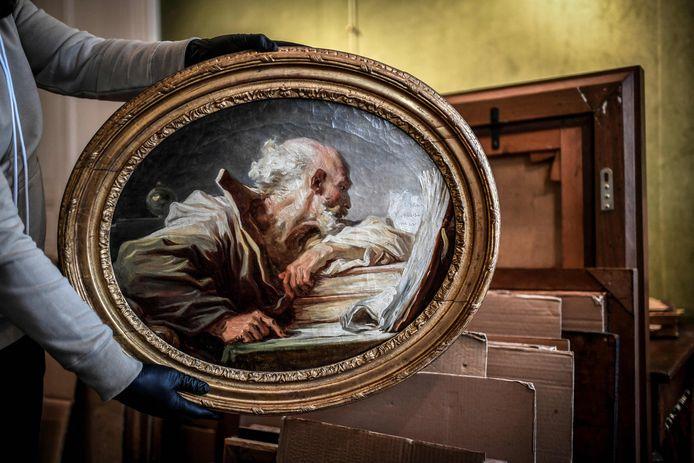 Het schilderij 'Philosophe lisant' van de Franse schilder Jean-Honoré Fragonard.