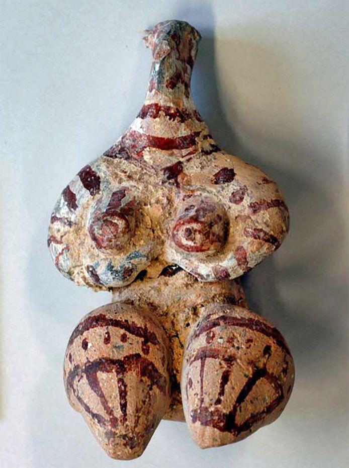 Voorbeeld van een Halaf-figuur, dat staat voor vruchtbaarheid.