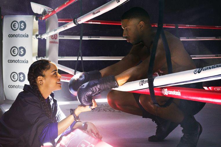 Michael B. Jordan als Adonis Creed en Tessa Thompson als zijn vriendin.  Beeld rv/Barry Wetcher