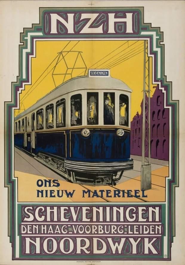 Poster NZH uit 1924 maakt reclame voor de Blauwe Tram