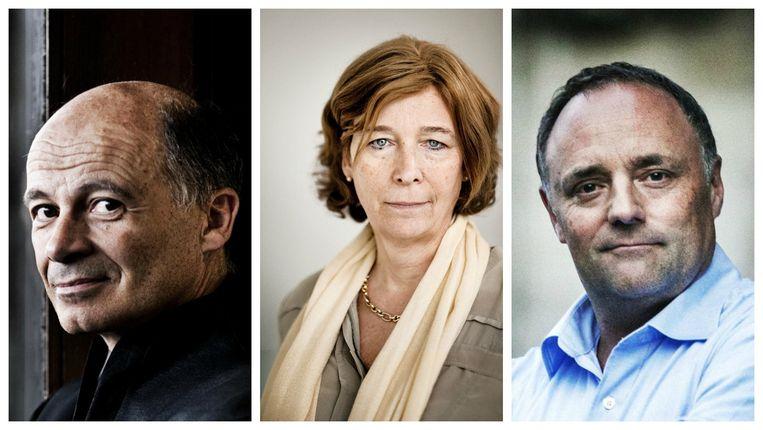 Van links naar rechts: Peter Adriaenssens, Petra De Sutter en Marc Van Ranst. Beeld RV