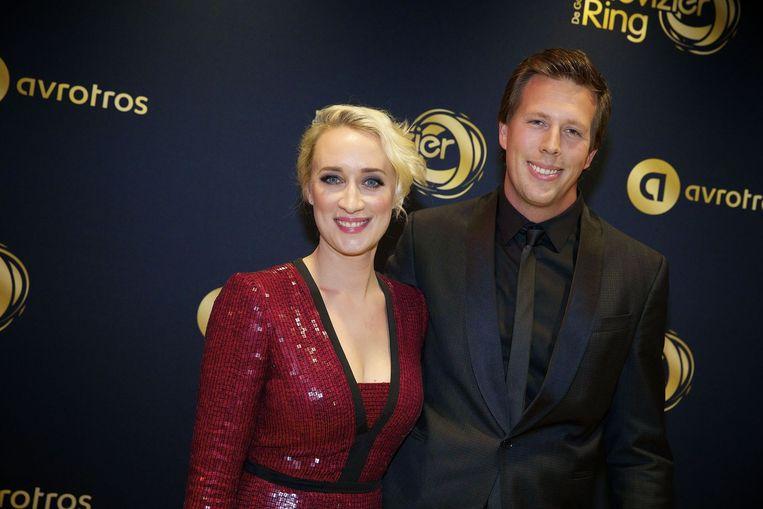 Eva Jinek en Freek Vonk op de loper bij het Gouden Televizier-Ring Gala 2014. Beeld anp