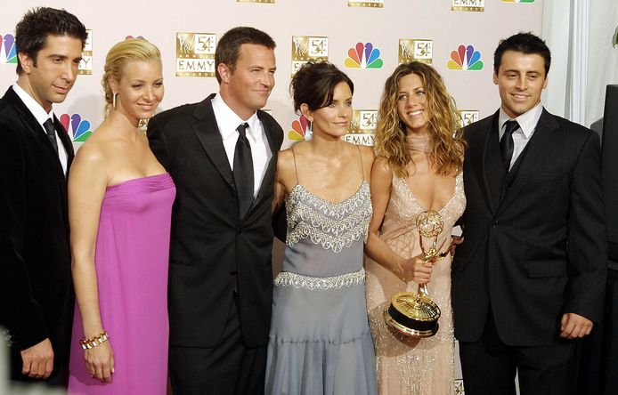 De cast van Friends: David Schwimmer, Lisa Kudrow, Mathew Perry, Courtney Cox Arquette, Jennifer Aniston en Matt LeBlanc