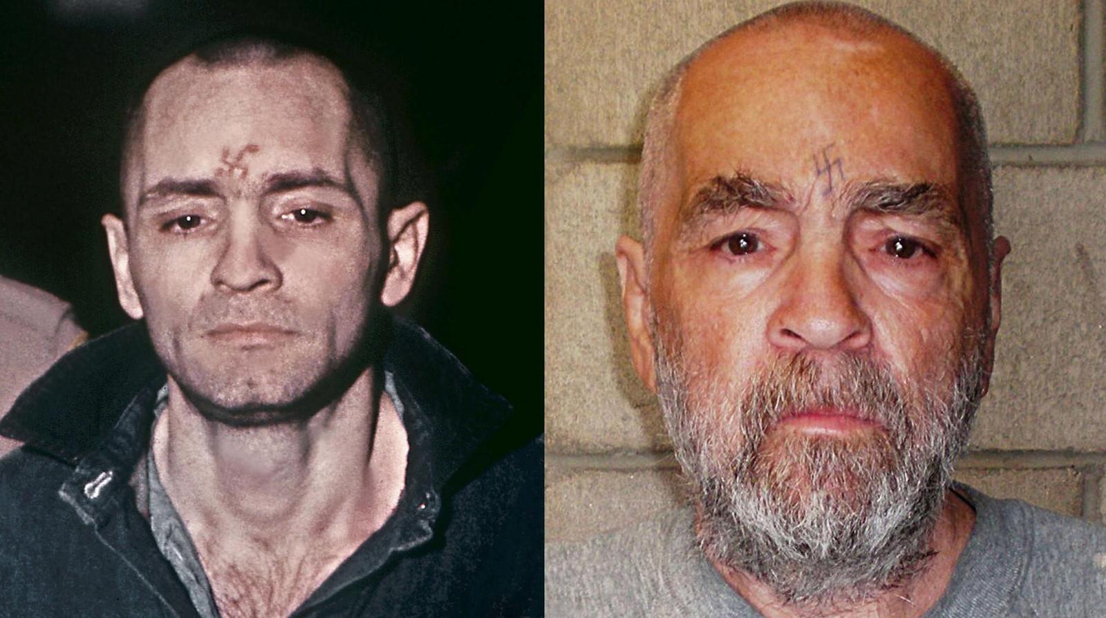 Charles Manson in 1971 en in 2009.