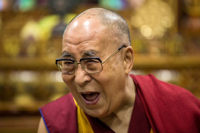 Portret van de 14de Dalai Lama, Tenzin Gyatso, tijdens een interview met Marije Vlaskamp van de Volkskrant. Beeld Julius Schrank