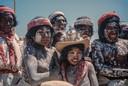 Tarahumara indianen tijdens de viering van de Heilige Week. Sierra Tarahumara, Chihuahua, april 1965.