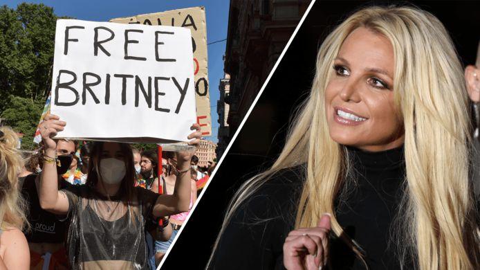Mensen demonstreren voor het beëindigen van de ondertoezichtstelling waar Britney Spears onder leeft.