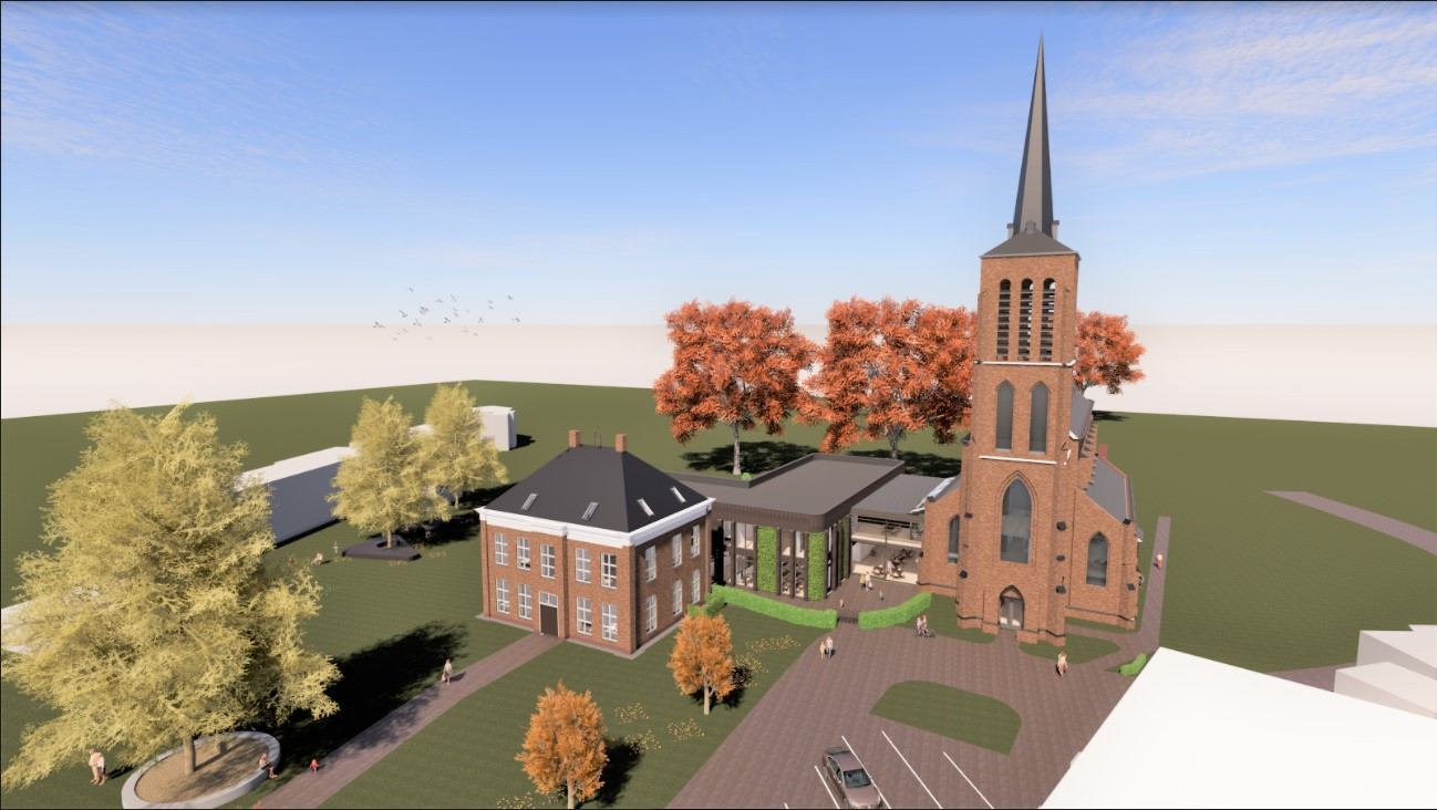 Impressie van de nieuwbouw van de Petrus- en Paulusschool en woningen aan en in de kerk in Eerde. Een voorbeeld van nadenken over de toekomst van steeds leger wordende kerken.